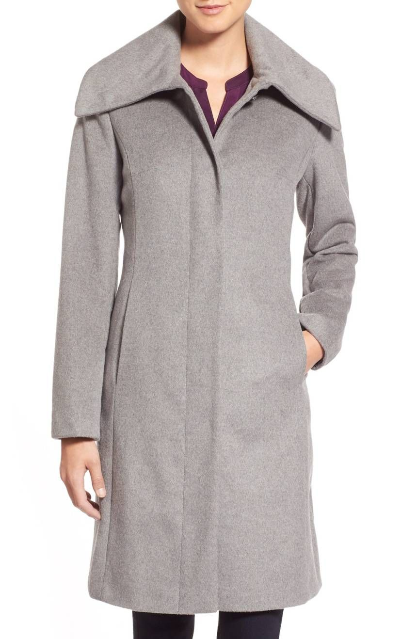 Womens Cole Haan Signature Single Breasted Wool Blend Coat, Size 10 - Metallic