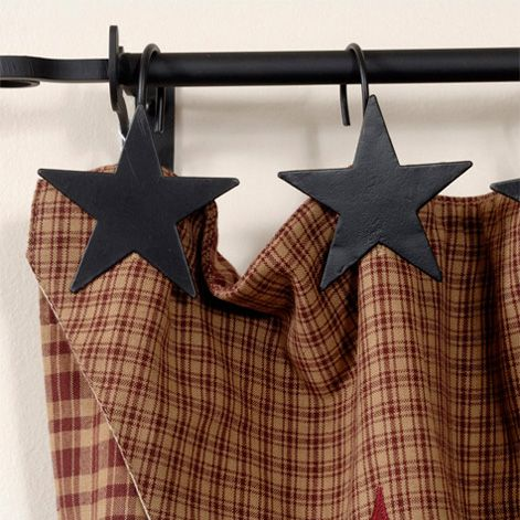 Star Shower Curtain Hooks Black Set Of 12 Irvin S Country Tinware
