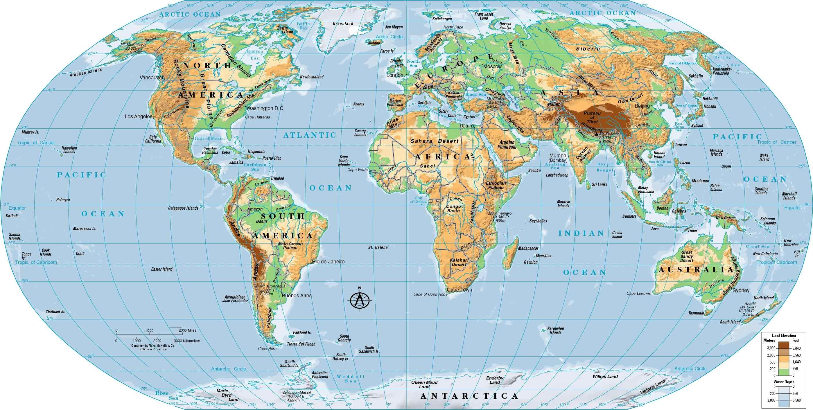 World Physical Map Hd Physical World Map For Roundtripticket Me