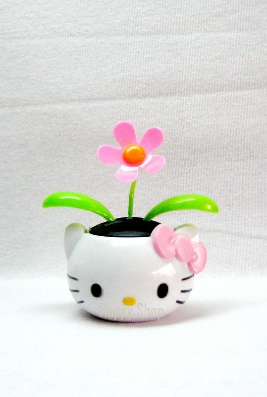 NEW~~Cute Hello Kitty Flower Pot Flip Flop Solar Power  af245251e01a4