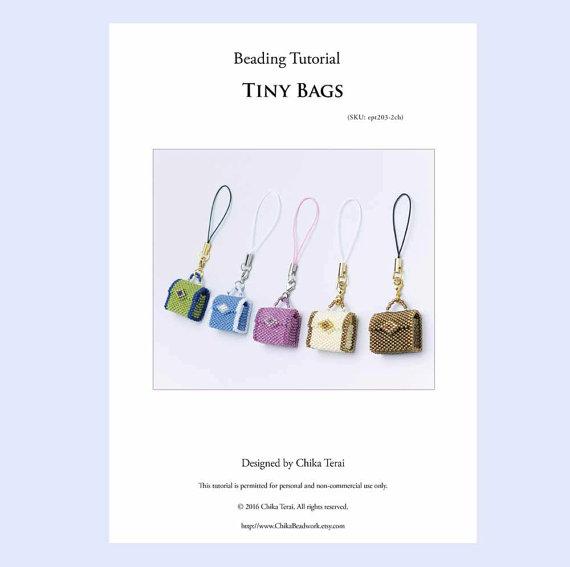 Pdf Beading Tutorial Beaded Bag Pattern Charm Key Chain Pendant Necklace Bead Weaving Instruction Present Ept203 2