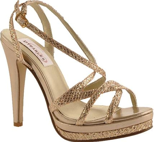 e73ae0175c3f Dyeables Women s Shoes in Champagne Glitter Color. This popular strappy  platform sandal has a high heel. The adjustable buckle allows for a  comfortable fit ...