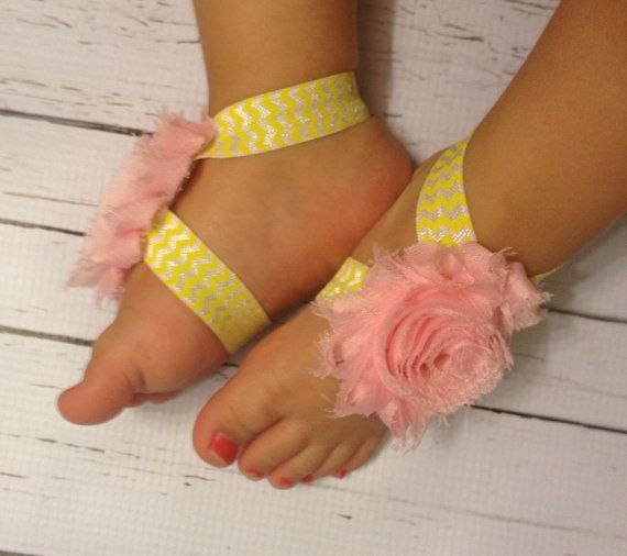 Baby Barefoot Sandals.. Yellow Chevron by ...