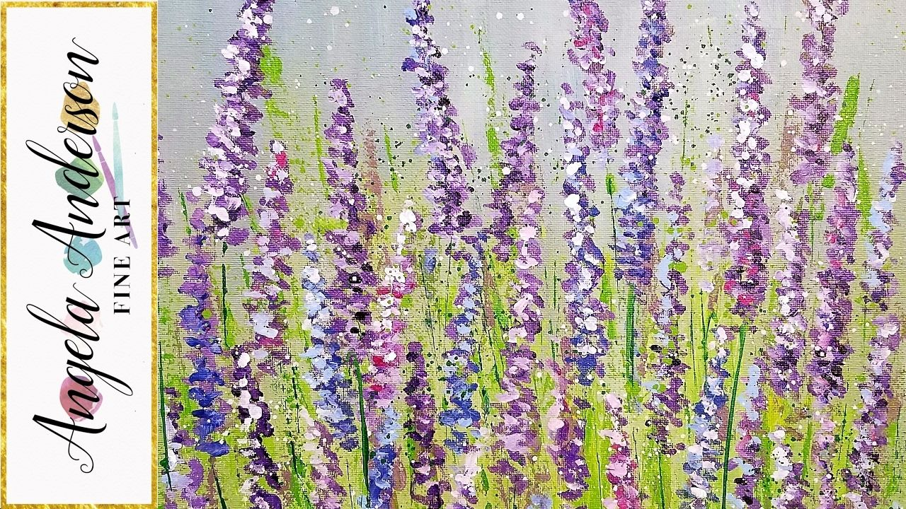 Lavender Acrylic Painting Tutorial By Angela Anderson Live Friday Night 5pm Ct From The Lava Soap Page On Facebo Flower Painting Lavendar Painting Flower Art