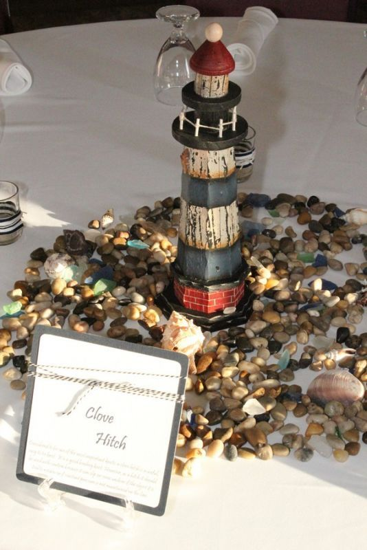 Exceptional Nautical Wedding Centerpieces | Tables Had Either A Boat S Or Lighthouse In  The Center Along