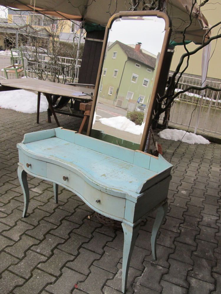 antik frisiertisch schminktisch m spiegel t rkis gold kommode shabby vintage gabrielas. Black Bedroom Furniture Sets. Home Design Ideas