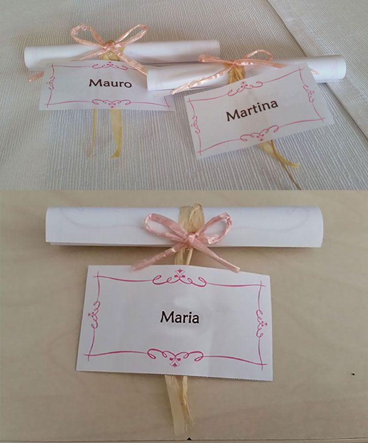 Pergamena Segnaposto Matrimonio.Segnaposti Per Gli Adulti Realizzato Con Carta Pergamena Su