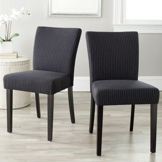 Safavieh Parsons Dining Camille Black Pinstripe Dining Chairs (Set of 2)