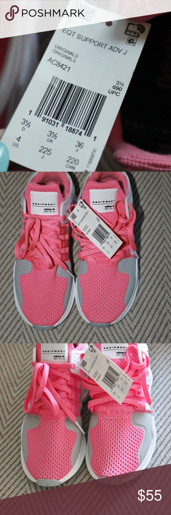 26d5c1b1c797 Form  Adidas Originals Girls Sz 4 Pink and White NWT  NWOB Girls Adidas  Originals EQT Support ADV - Grade School Shoes Chalk Pink. Size 4 girls  adidas Shoes ...