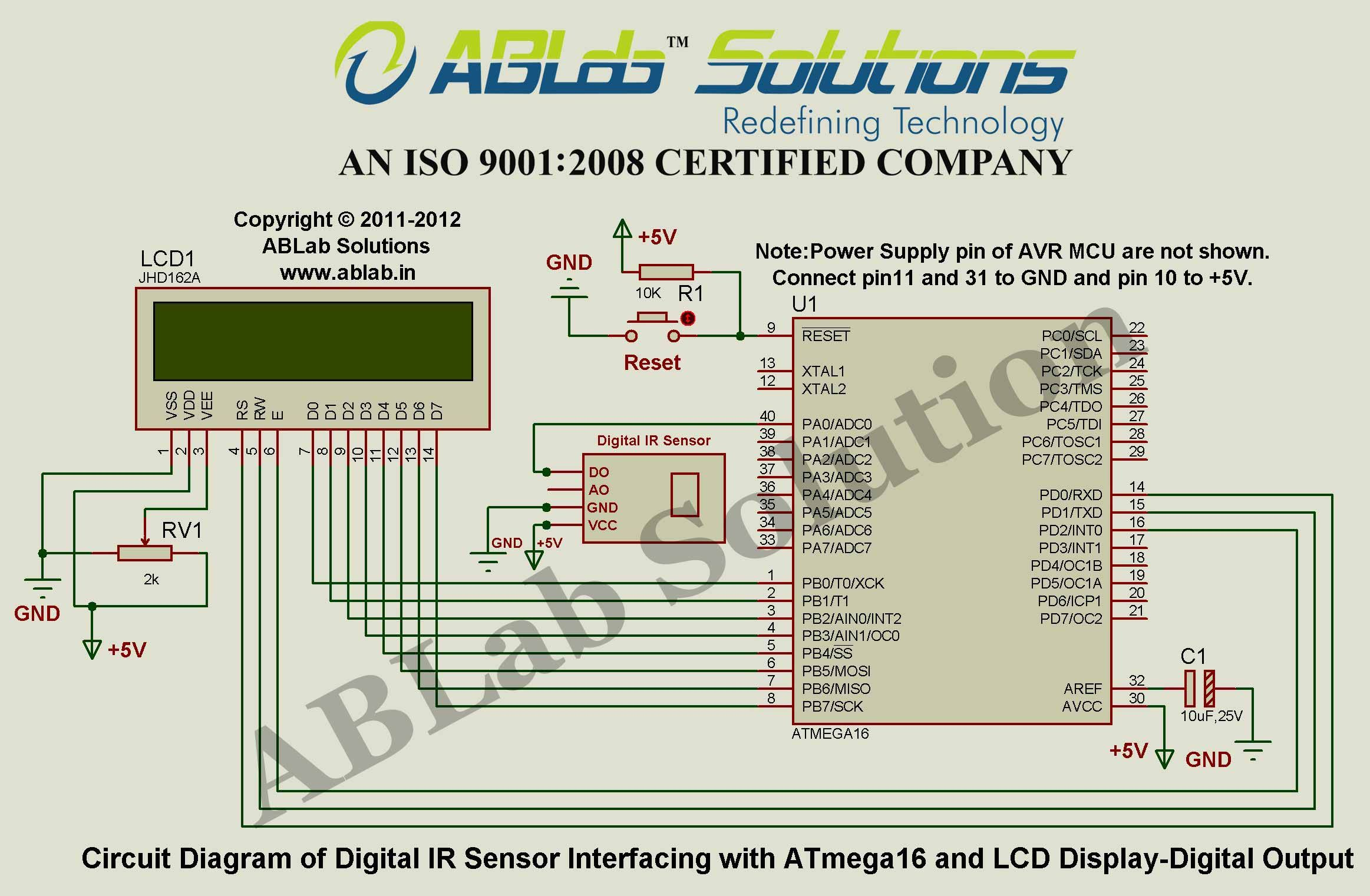 digital ir sensor interfacing with avr atmega16 microcontroller and lcd display digital output circuit diagram ablab solutions [ 2325 x 1521 Pixel ]