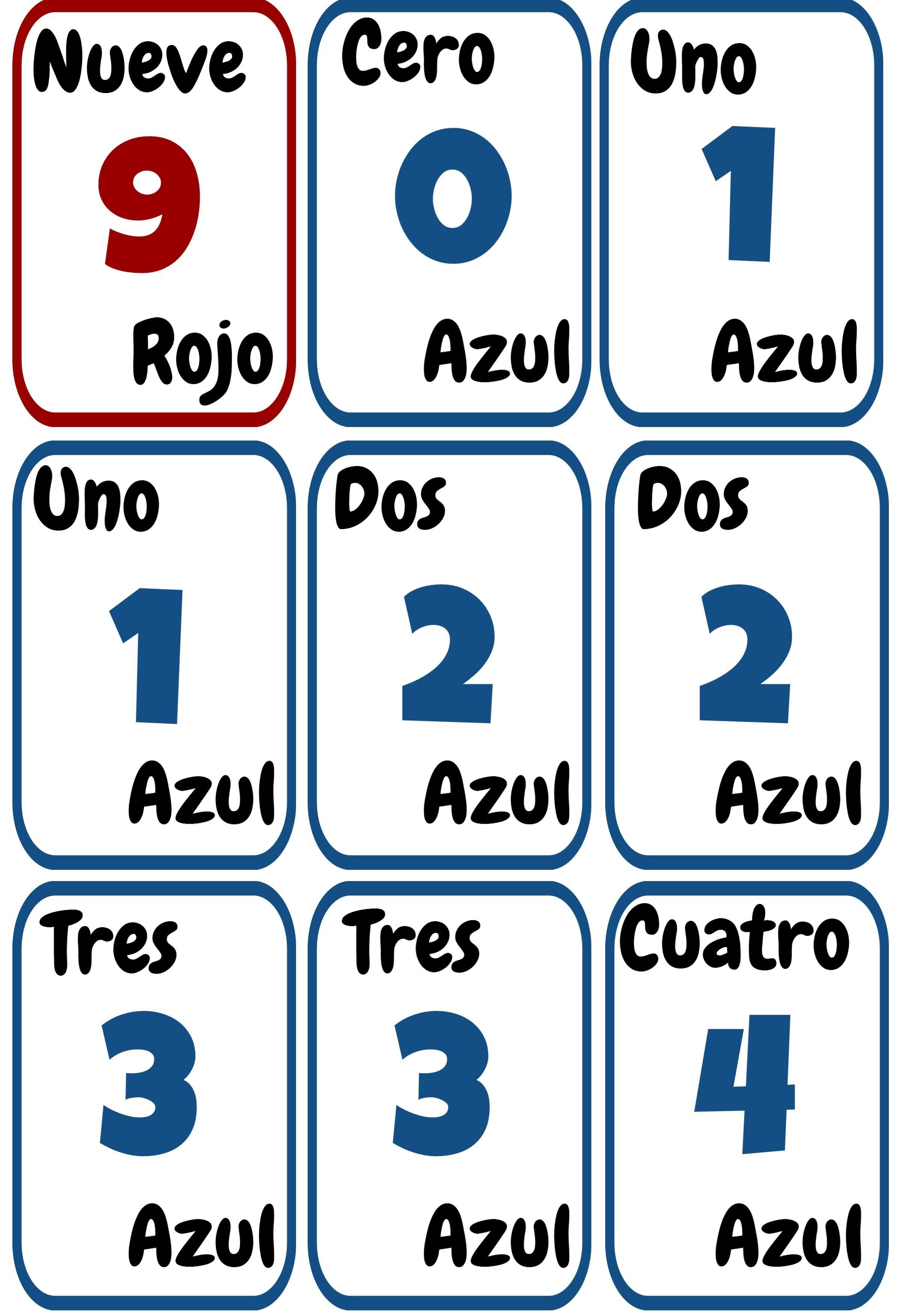 Cartas Uno Imprimibles Para La Clase De Español Ele Colores Y Números Los Numeros En Espanol Material Didactico Para Matematicas Juegos De Matemáticas