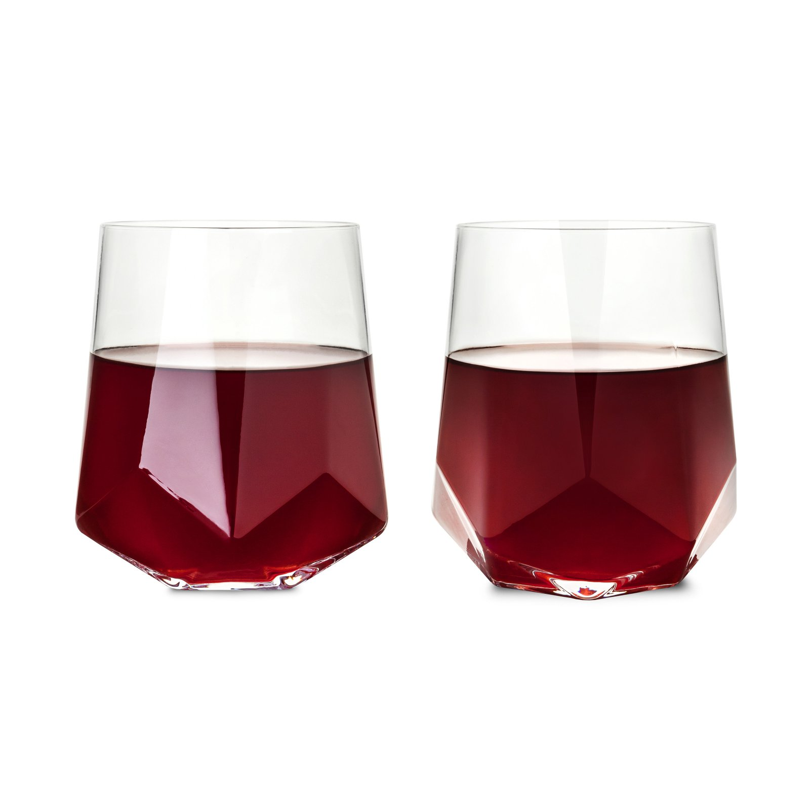Viski Raye Faceted Crystal Wine Glass Set Of 2 In 2020 Crystal Wine Glasses Wine Glass Set Wine Glass