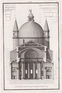 Chiesa del Santissimo Redentore - architect Andrea Palladio, Venice, Italy drawings by Ottavio Bertotti Scamozzi in 1783