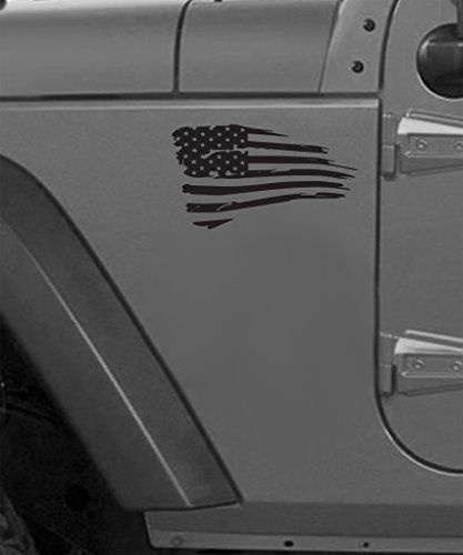 Black 6 Distressed Waving American Flag Jeep Decals Jeep Decals