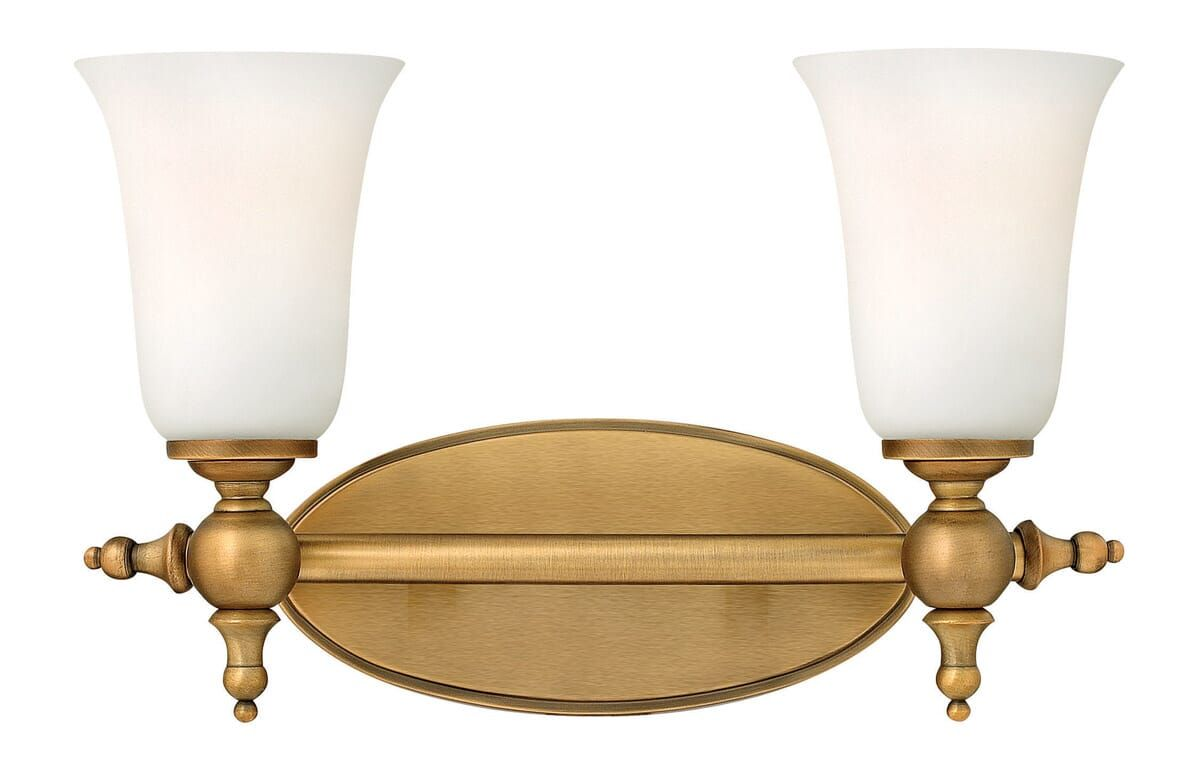 Hinkley Yorktown 2-Light Bathroom Vanity Light in Brushed ... on Bathroom Sconce Lights Brushed Bronze id=61295