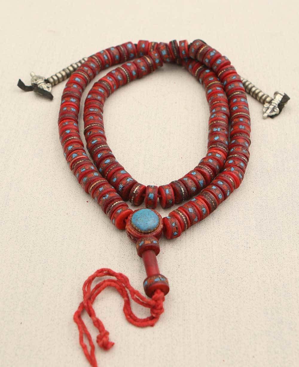 10 handmade Tibetan prayer beads nepal brass beads with turquoise coral inlay