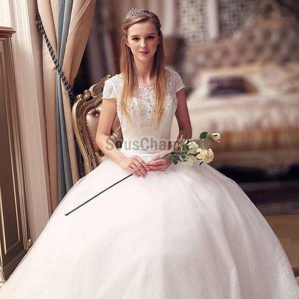 ... de perles et strass avec manches courte  Robe de mariée 2016