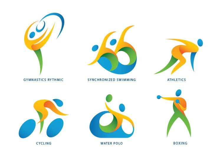 Weightlifting Olympics Rio 2016 design. Silhouette in light-blue ...