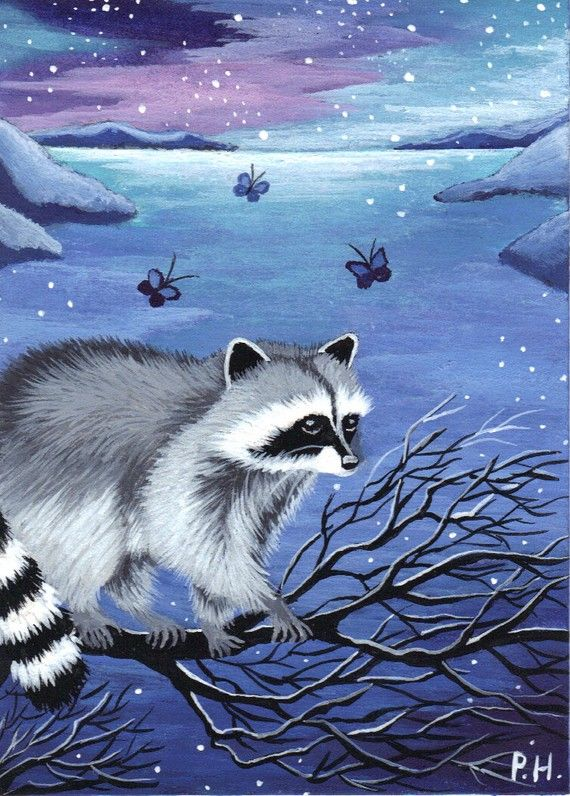 Cute animals Fox in snow forest Animal art print ACEO Limited Edition