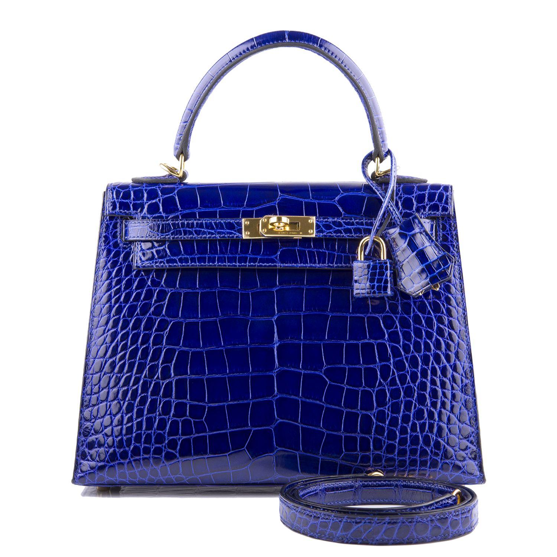 b6e7cd5ac7 Hermes Kelly Bag 25cm Blue Electric Shiny Alligator Gold Hardware ...