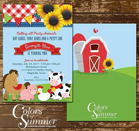 farm animal birthday invitation barn yard theme sunflower