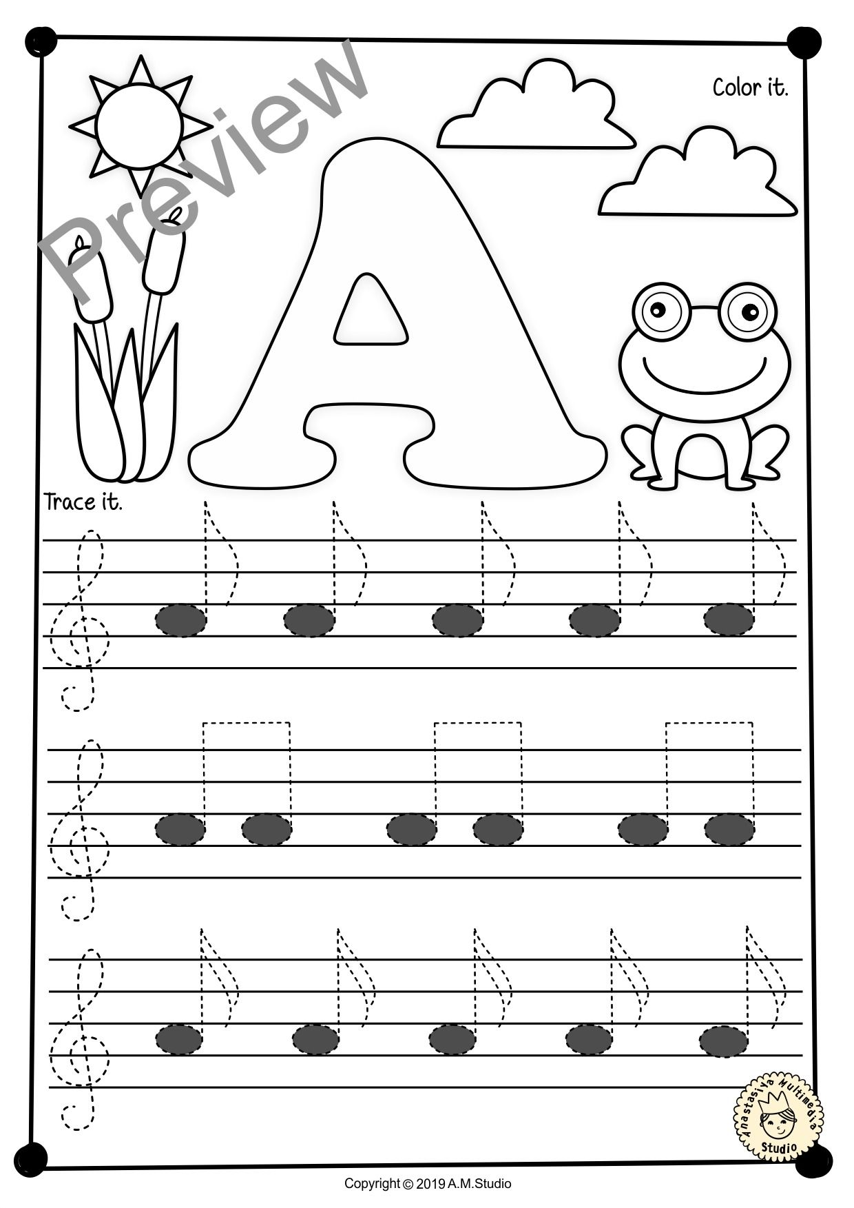 A Set Of 26 Music Worksheets Spring Themed Is Created To Help Your Students Learn To Trace Copy Color And Draw Note Music Worksheets Music Notes Music Math