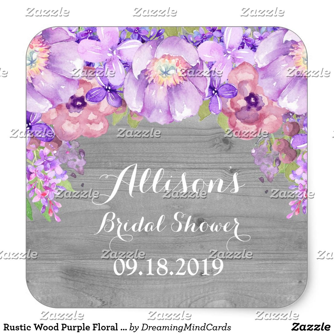 Wedding decorations ideas at home january 2019 Rustic Wood Purple Floral Bridal Shower Favor Tag Bridal Shower