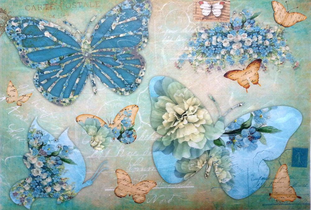 Vintage Butterfiles Rice Paper for Decoupage Scrapbook Craft Sheet
