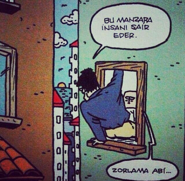 - Bu manzara insanı şair eder. + Zorlama abi...  #karikatür #mizah #matrak #komik #espri