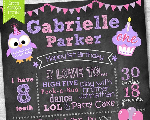 Pink And Purple OwlsThemed Printable Chalkboard Sign Perfect for Birthday/'s at Any Age Different Sizes available
