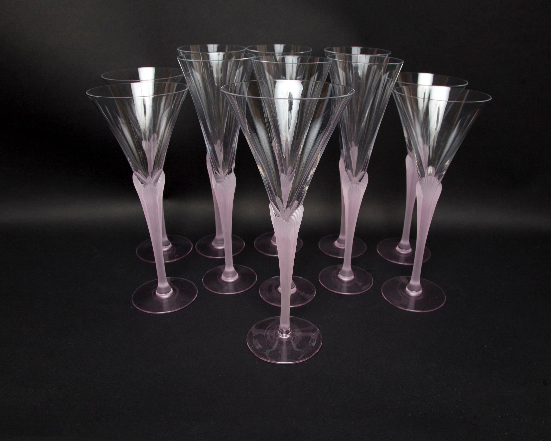 Vintage Crystal Champagne Flutes Pink Frosted Stems Tulip Design Made In France Glassware Toasting Crystal Champagne Flutes Crystal Champagne Champagne Flutes