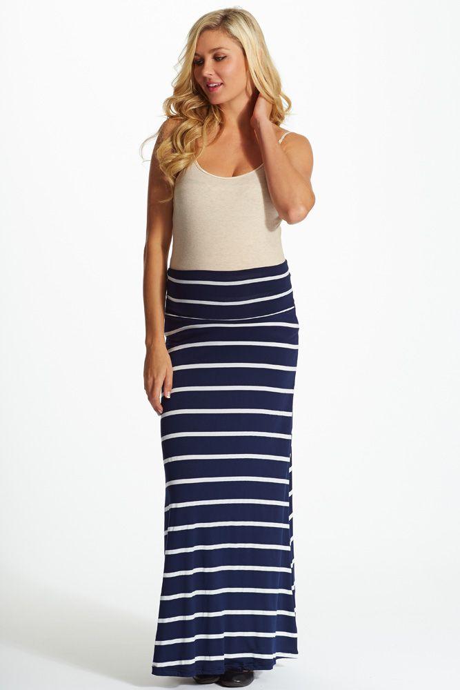 ebc9f64d2 Navy Blue White Striped Maternity Maxi Skirt