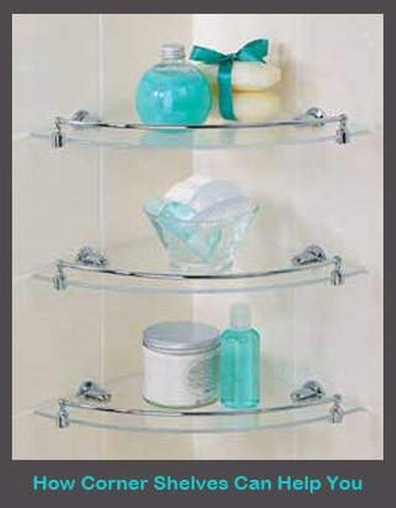 awesome three levels of corner glass shelves for bathroom | Bathroom ...