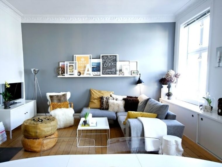 small living room with grey yellow and white colour scheme and grey ...