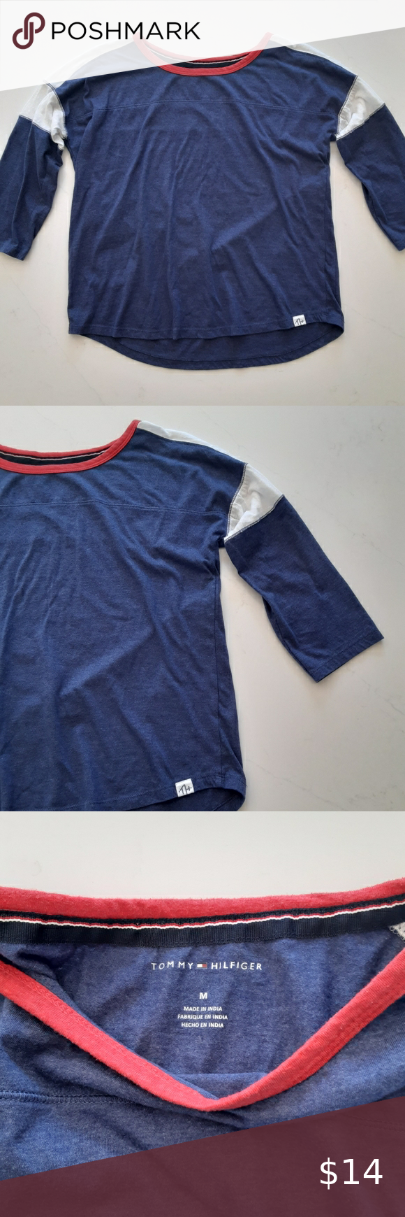 Tommy Hilfiger Womens Size M Cropped Sleeve Tee Tommy Hilfiger Womens Size M Cropped Sleeve Tee Baseball Style Dar Clothes Design Tommy Hilfiger Sleeves Tees [ 1740 x 580 Pixel ]