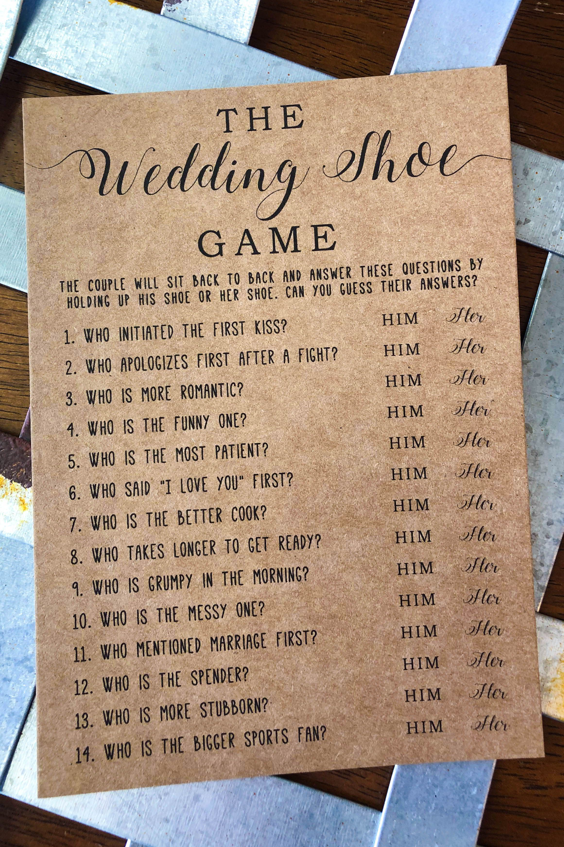 The Wedding Shoe Game . Bridal Shower Games . Wedding Shower Games . Bridal Shower Print . Bridal Shower Printable Games . Printable Games