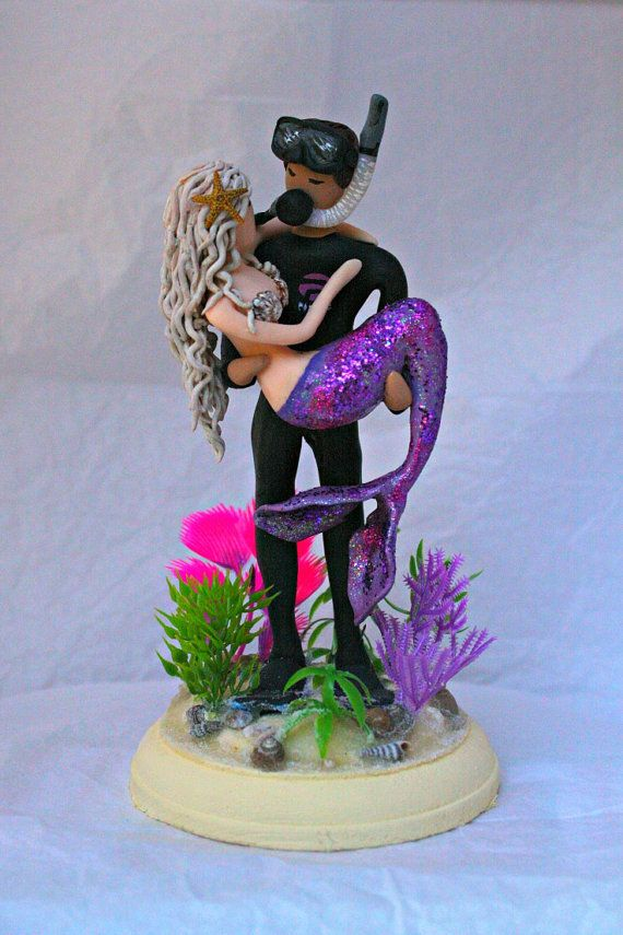 Mermaid And Scuba Diver Wedding Cake Topper By CrimsonMuse On Etsy
