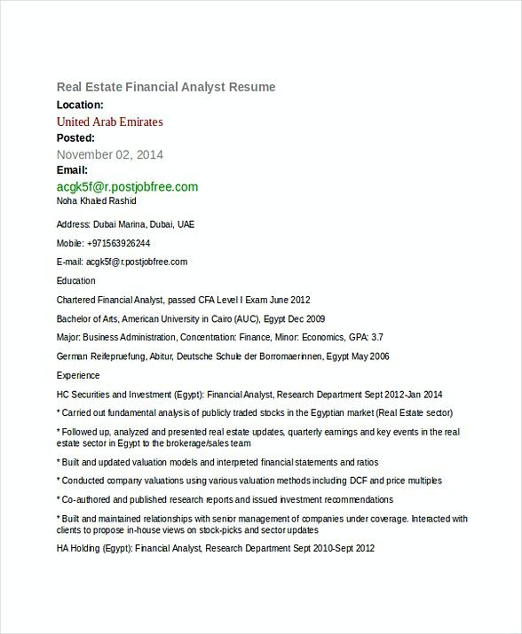 Financial Analyst Resume Awesome Real Estate Financial Analyst Resume  Financial Analyst Resume