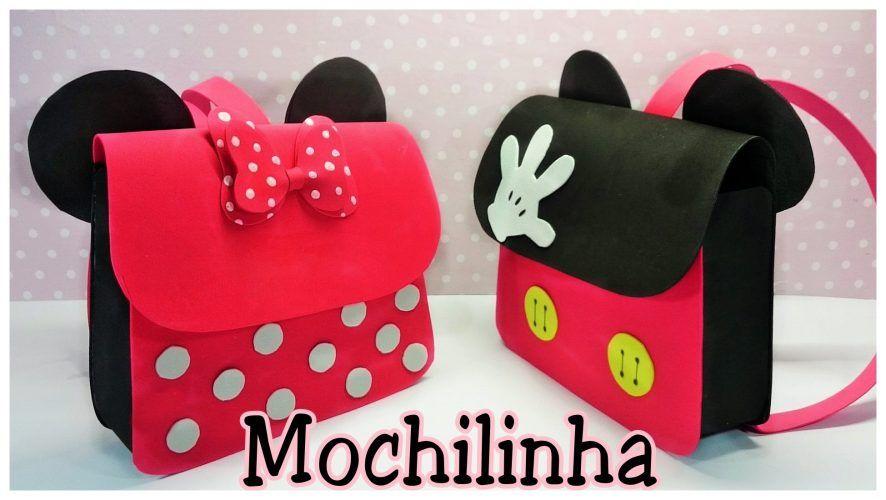 a5a064d96 Mochila de Mickey y Minnie Mouse | Minnie | Bolsitas de goma eva ...