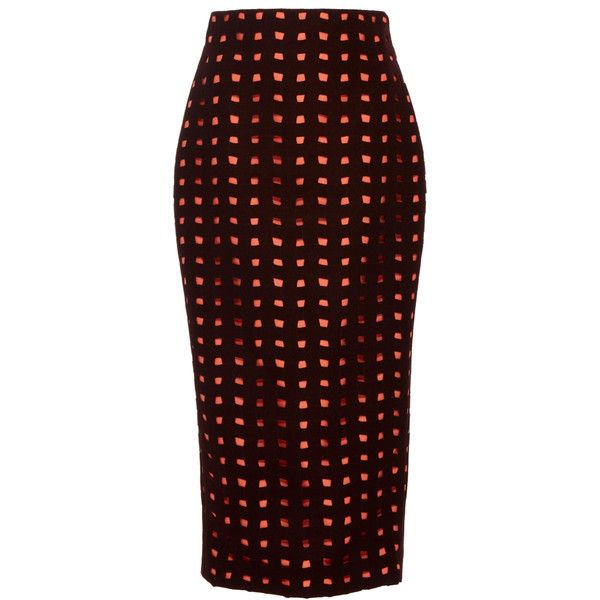 Leal Daccarett Siara Midi Skirt ($895) ❤ liked on Polyvore featuring skirts, print, fitted skirts, mid calf pencil skirt, midi skirt, red skirt and knee length pencil skirt