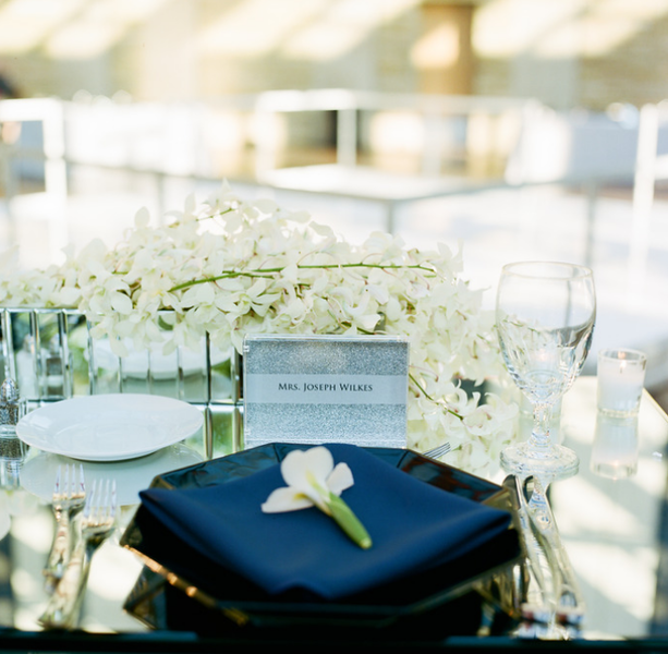 Formal Modern Classic // Modern navy wedding with orchid and iris flowers in the centerpieces