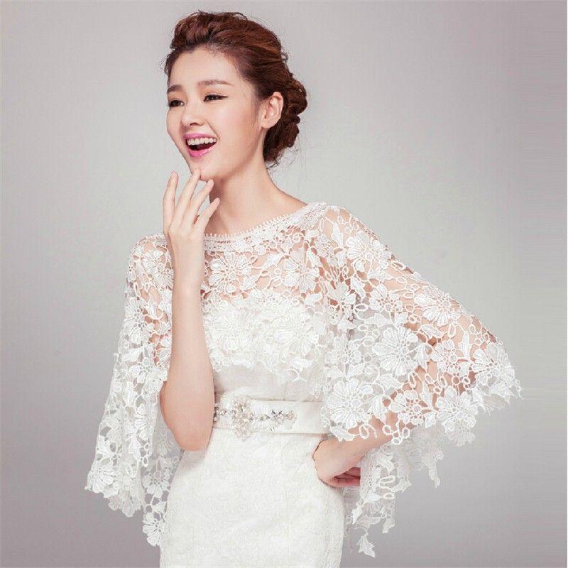 2015 Elegant Ivory Wedding Lace Jackets Wraps Wedding Cape Wedding Accessories Lace Bridal Bolero In Wedding Jacke Bridal Lace Bridal Bolero Cape Wedding Dress
