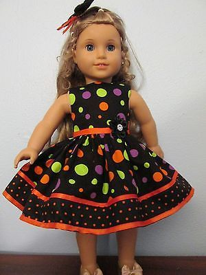 Dress-and-Hair-Bow-for-18-American-Girl-doll-Halloween-Dots