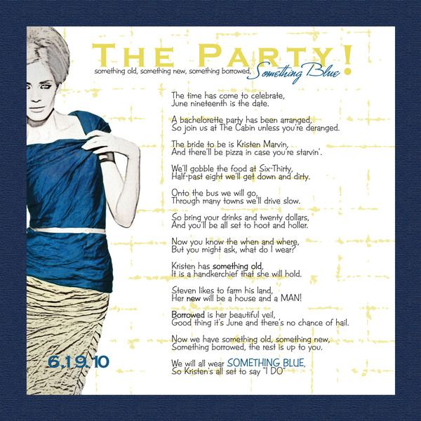 Bachelorette Party Invitation take some of the words – Party Invite Poems
