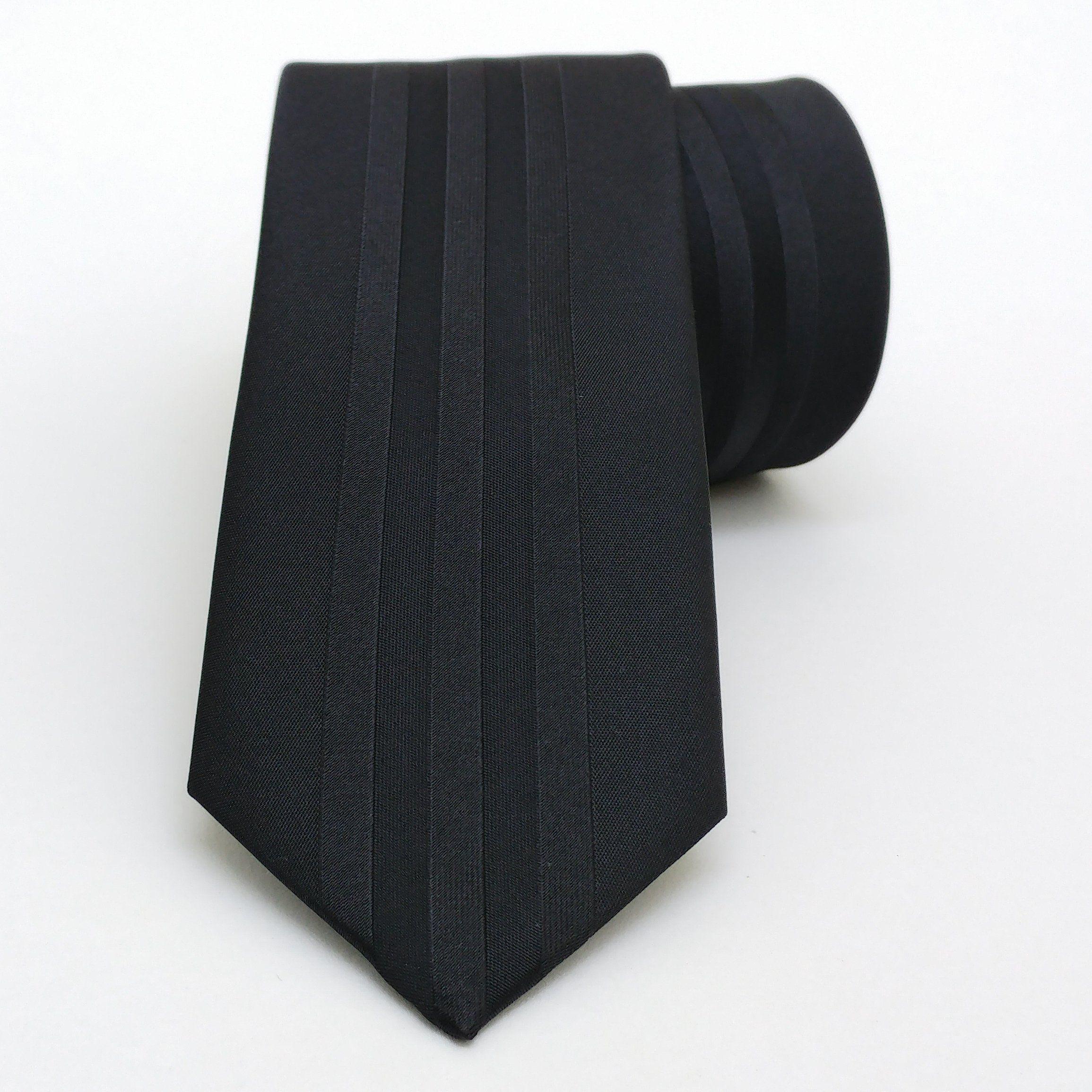 "Black striped men's tie 6 cm (2,36"") DK-210. Black striped men's necktie DK-210 Width : 6 cm (2,36"") Length : 150 cm (59,06"")."