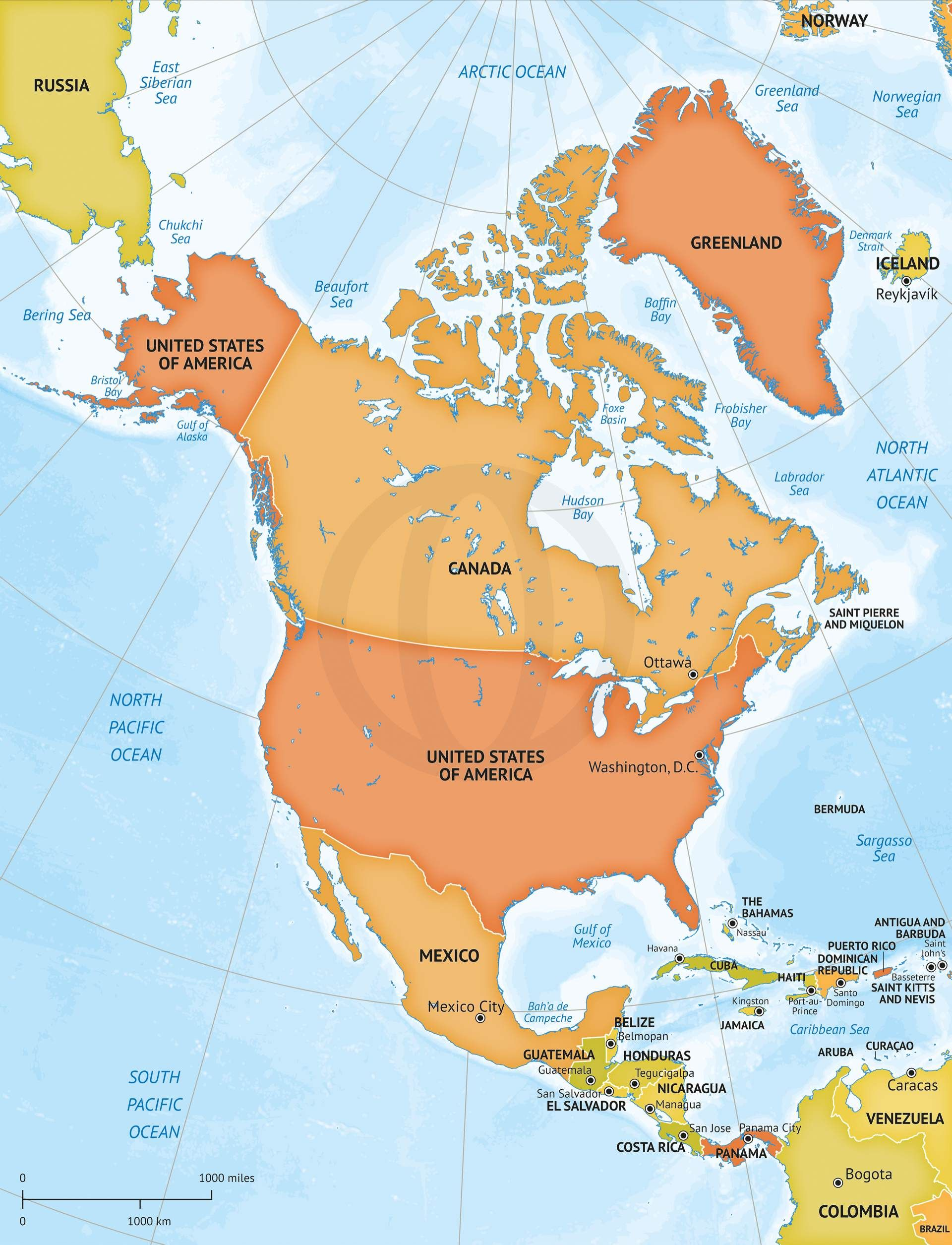 Map of North America continent political bathymetry | Maps ...