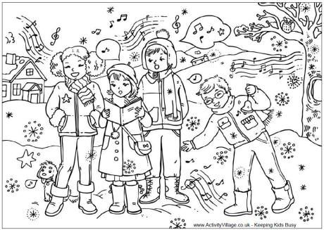 carol singers colouring page - Detailed Christmas Coloring Pages