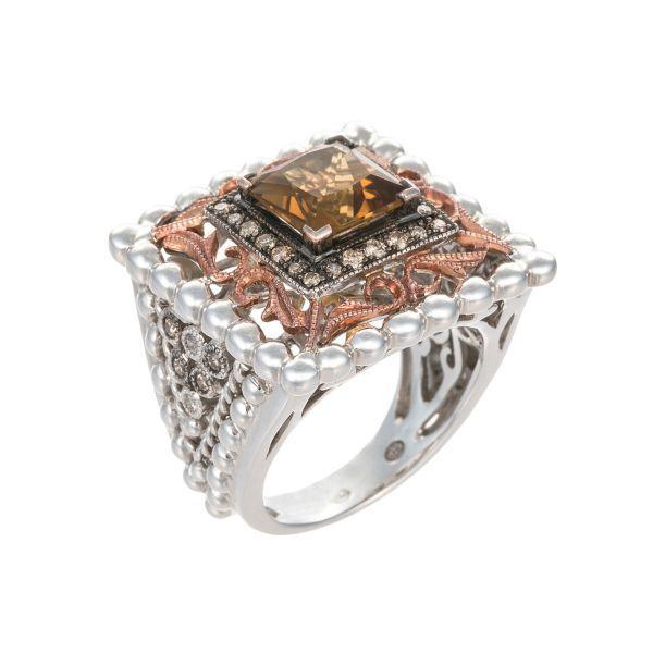 Vanna K 14K Rose Gold & Silver Ring With Princess Cut Cognac Quartz & Diamonds (=)
