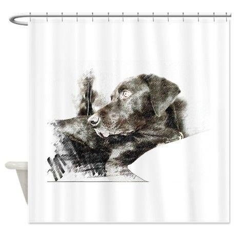 Gazing Labrador Shower Curtain On CafePress.com