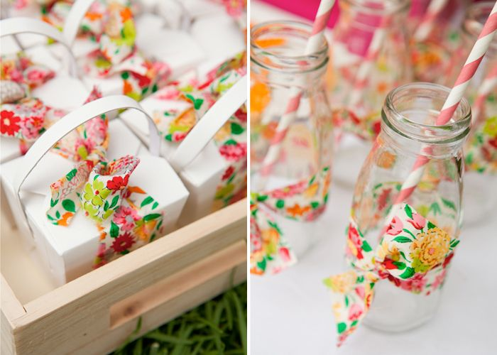 pretty fabric wrapped favors & bottles